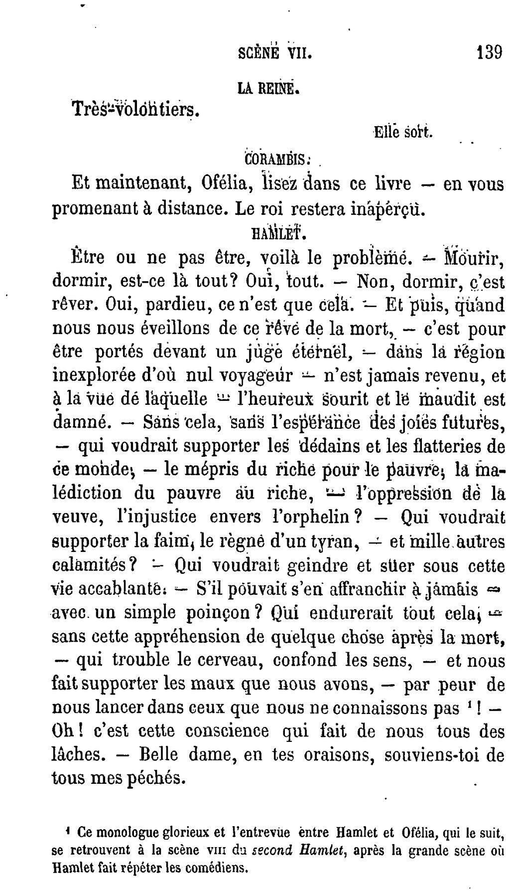 Hamlet être Ou Ne Pas être : hamlet, être, Page:Shakespeare, Œuvres, Complètes,, Traduction, Hugo,, Pagnerre,, 1865,, 1.djvu/137, Wikisource