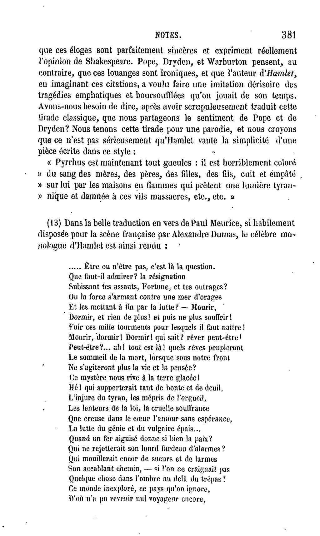 Hamlet être Ou Ne Pas être : hamlet, être, Page:Shakespeare, Œuvres, Complètes,, Traduction, Hugo,, Pagnerre,, 1865,, 1.djvu/379, Wikisource