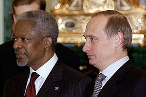 English: THE KREMLIN, MOSCOW. With Kofi Annan,...