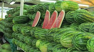 English: watermelon displayed for sale in the ...