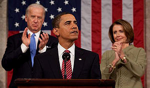 Barack Obama addressing a joint session of Con...
