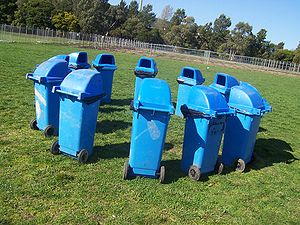 12 blue rubbish bins arranged in a circle.