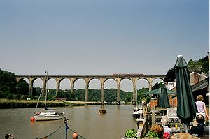 Calstock Viaduct, viewed from the village. A W...