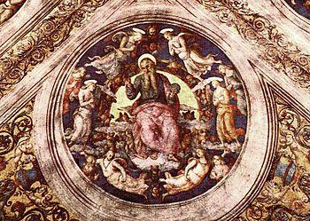 Perugino, Pietro - God the Creator and Angels ...