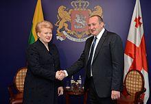 President Giorgi Margvelashvili meeting his Lithuanian counterpart, Dalia Grybauskaitė, in November 2013.