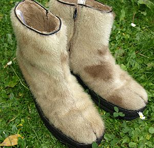Old boots of seal fur-skin