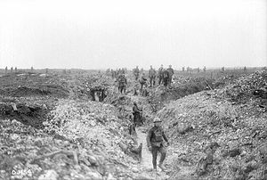 English: Canadians on guard over German dug-ou...