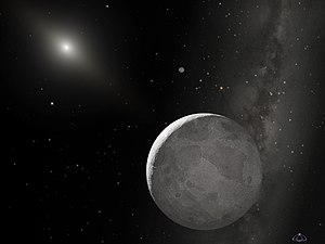 Eris and its moon. Surface details are fiction...