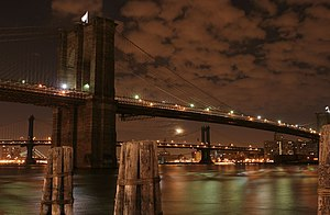 Brooklyn bridge at night, New York city, NY. F...