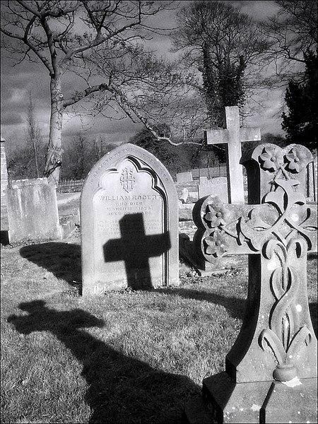 headstones in a graveyard on wikipedia