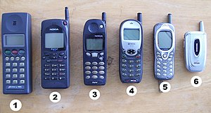 English: Various cellular phones from the last...