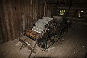 19th c. ox powered double carding machine
