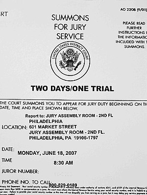 A summons for jury duty in a United States dis...