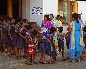 School children line up in Cochin Kerala India