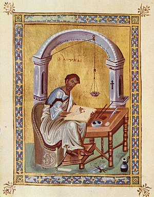 Evangelist Luke writing, Byzantine illuminatio...