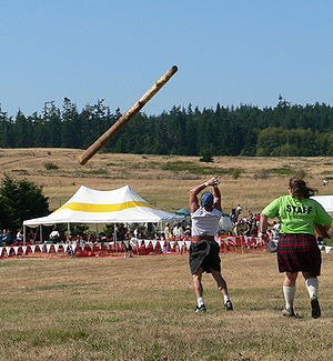 The caber toss event at the 2005 Whidbey Islan...