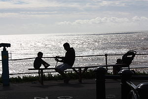 English: A father and son silhouetted on the f...
