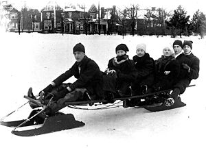 Group on sled in Riverdale Park. (Toronto, Canada)