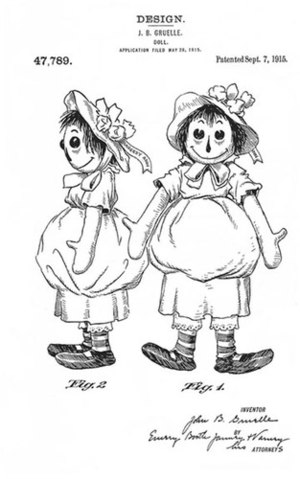 English: Gruelle's Raggedy Ann design patented...