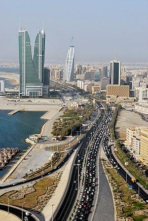 Road, towers and sea in Manama, Bahrain.