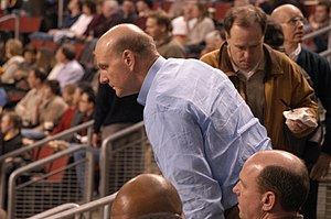Steve Ballmer taking a seat at the KeyArena to...