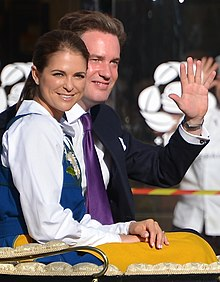 A new Swedish double duchy was created for Princess Madeleine (left) in 1982, whereas her husband in 2013 declined to become a Swedish citizen, prince and duke and is called Herr Christopher O'Neill in Sweden