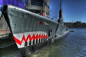 The USS Torsk (SS-423) is docked at the Baltim...