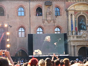 V-Day in Bologna; Beppe Grillo speaking on the...