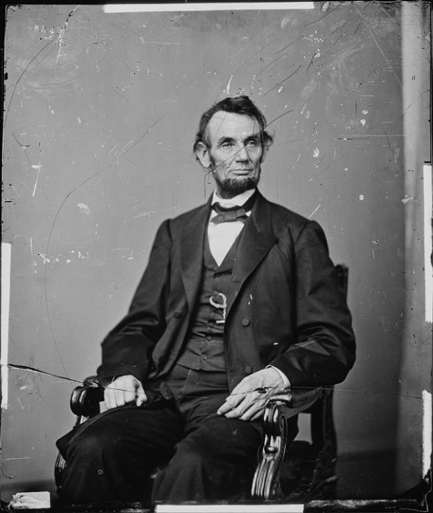 Abraham Lincoln on original cracked plate February 1864 by Matthew Brady
