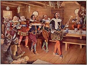 Scène de l'Ordre de Bon Temps, Acadie (1606). ...