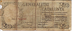 Bank note from the Generalitat de Catalunya, 1936.