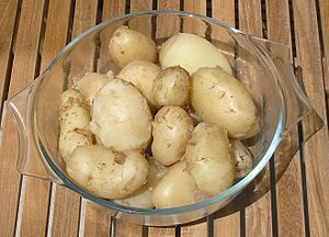 a dish Jersey Royal potatoes - simply boiled