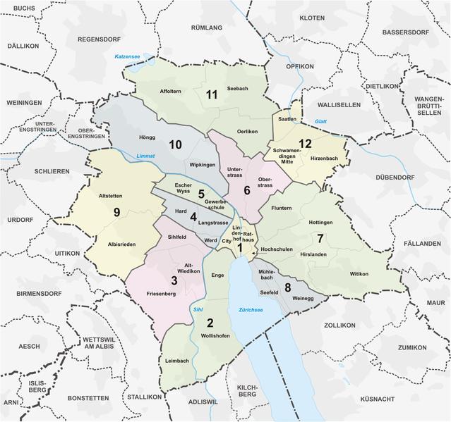 Mapa de divisão de Comunas de Zurique na Suíça