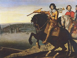 Louis XIII on horseback, with Cardinal Richeli...