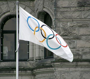 The Olympic Flag flying in Victoria, British C...