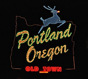 English: The White Stag Sign, in Portland, Ore...