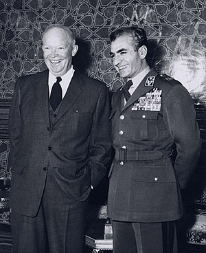 English: President Eisenhower and Mohammad Rez...
