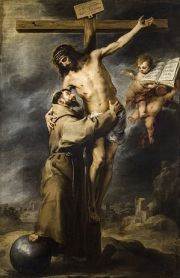 """Saint Francis embracing Christ on the Cr..."