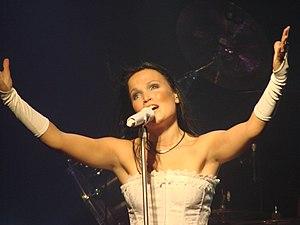 Tarja Turunen singing at the Obras Stadium in ...