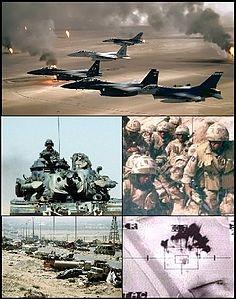Dall'alto, in senso orario alcuni aerei da caccia della Coalizione sorvolano il deserto del Kuwait decimato dai pozzi petroliferi distrutti; sotto a destra, alcune truppe britanniche dello Staffordshire Regiment impegnate in un'esercitazione in Arabia Saudita durante la cosiddetta Operazione Granby, a sinistra un M728 Combat Engineers; più in basso a sinistra l'Autostrada della morte, a destra visuale di un obice montato sulla cannoniera volante Lockheed AC-130 mentre colpisce un bersaglio.