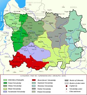 Brest Litovsk Voivodeship (red) within Lithuan...