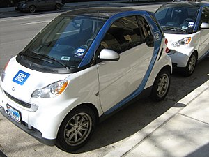 Two Smart Fortwo cars in the Car2Go fleet in A...