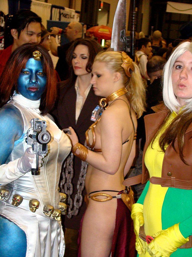 FileCosplay of Slave Leia Rogue and Mystique NY ComicCon