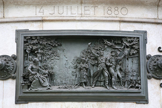 Fête nationale du 14 juillet 1880, haut-relief en bronze de Léopold Morice, Monument à la République, place de la République, Paris, 1883 / Roi Boshi