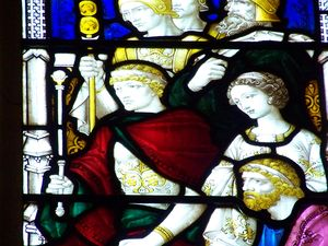 English: Detail of a stained glass window in S...