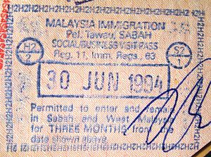 English: Passport entry stamp from Tawau port,...
