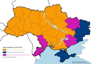 English: Native language in Ukraine. Legend: U...