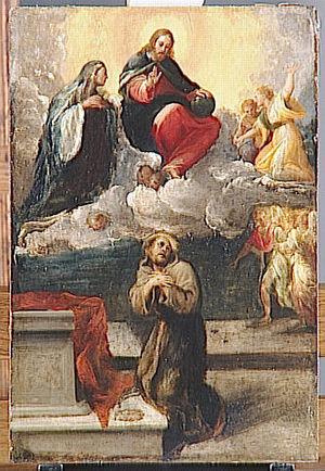 Le Christ et la Vierge apparaissant à saint Fr...