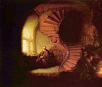 Filósofo em Meditação, óleo de Rembrandt.