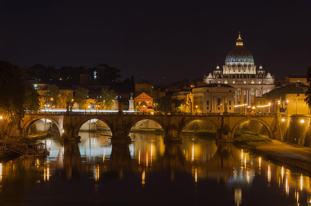 File Saint Peter S Basilica Sant Angelo Bridge By Night